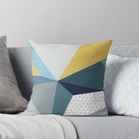 'Navy blue and gold' Throw Pillow by printapix