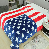 New American Flag Warm Air Conditioning Throw Blanket for Bedroom Living Rooms Sofa Super Soft
