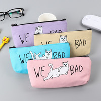 Kawaii Canvas Cat school pencil case for girls Cute Korea colorful pen bag stationery pouch office school supplies zakka escolar