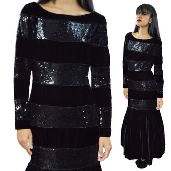 Vintage 80s Oscar de la Renta Sequined Velvet Evening Ball Gown Dress