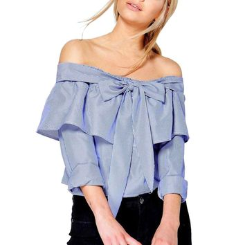 Fashion Blouse Women Sexy Stripe Shirt Off Shoulder Long Sleeve Bow Tie
