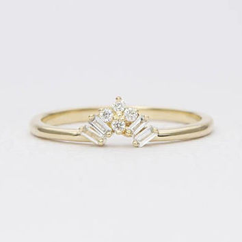 Diamond Baguette Round 14K Gold Wedding Band Crown Tiara Ring AD1251