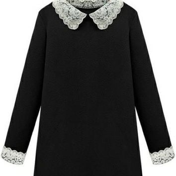 B| Chicloth Peter Pan Collar Loose Plus Size Long-Sleeve Dress