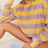 CREYXF7 Out From Under Striped Cropped Hoodie Sweatshirt | Urban Outfitters