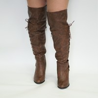 Side Lace PU OTK Boot