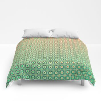 Shiny buttons retro pattern Comforters by Natalia Bykova