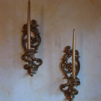 Vintage Sconces, Ornate Gold, Sconces, Wall , Candle Holders, Indoor, Sconces, From Homco #4118, Wall Hanging, Home Decor,
