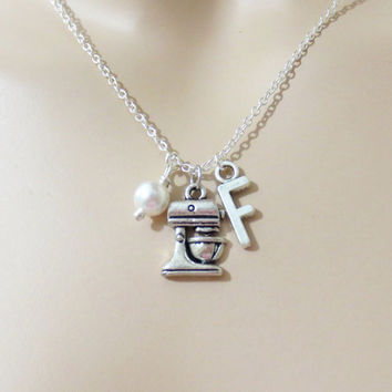 Baker, Necklace, Baking, Pearl, Necklace, Personalized, Initial, Necklace, Baker, Baking, Chef, Necklace, Personalized, Gift, Necklace