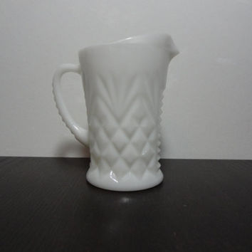 Vintage Westmoreland Milk Glass Small Creamer Pitcher/Bud Vase - Pineapple Design - Farmhouse/Shabby Chic Style