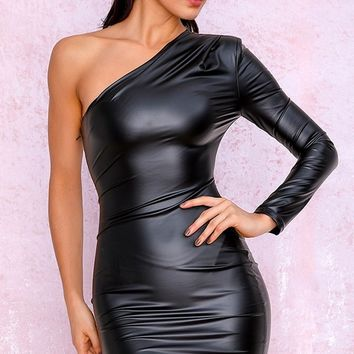 Side With Me Black PU Faux Leather One Shoulder Long Sleeve Asymmetric Bodycon Mini Dress