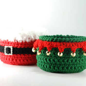 Christmas decor, Santa Claus crochet bowl, Santa's Elf candy bowl, set of 2 bowls, Christmas party, hostess gift, teacher gift, North Pole