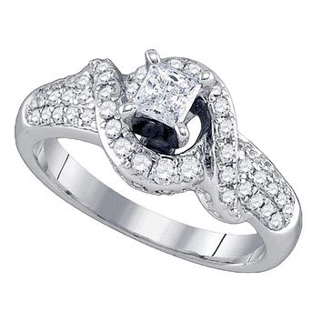 14kt White Gold Women's Princess Diamond Solitaire Swirl Bridal Wedding Engagement Ring 7/8 Cttw - FREE Shipping (US/CAN)