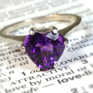 Amethyst Heart Sterling Silver Ring, Valentines Gift, Engagement Ring, Wedding Ring Set, Promise Ring, Bridesmaids Gifts