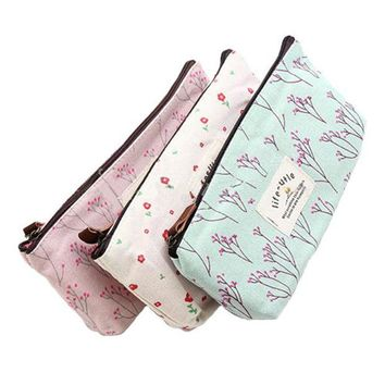 DCCKL3Z Hot Sale New Flower Floral Pencil Pen Canvas Case Cosmetic Makeup Tool Bag Storage Pouch Purse