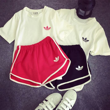 Adidas Women Casual Short Sleeve Top Sport Gym Sweatpants Set Two-Piece Sportswear
