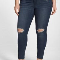 Plus Size Women's Poetic Justice 'Maya' Destroyed Stretch Skinny Jeans,