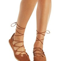 Camel Crisscross Lace-Up Round Toe Flats by Qupid at Charlotte Russe