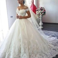 Off the Shoulder Ivory Wedding Dress with Appliques Lace Custom Size 2 4 6 8 10
