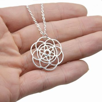 FLOWER OF LIFE PENDANT SILVER YOGA SPIRIT JEWELRY