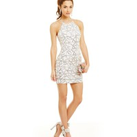 B. Darlin High Neck Geometric Sequin Pattern Dress | Dillards