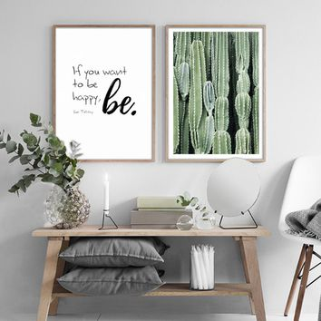 Quote, Cactus, Leaves, Green Plants Wall Art on Canvas