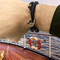 Black Leather Anchor Bracelet. Mens Leather Bracelet. Nautical Wrap Bracelet. Sea Bracelet. Bracelet for Man and Woman Jewelry. Gift for Men Bracelet + Wooden Gift Box