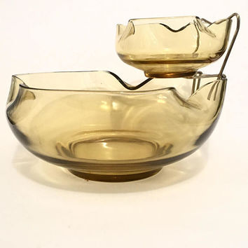 Yellow Glass Chip and Dip Set, Mid Century Anchor Hocking Honey Gold Chip Bowl Clip on Dip Bowl