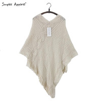 Simplee Apparel batwing sleeve fringe tricot cloak sweaters women Autumn knitting mantle jumper knitwear poncho cape tassel hem