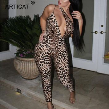 Articat One Shoulder Hollow Out Leopard Jumpsuit Women Sleeveless Backless Elastic Rompers Womens Jumpsuit Casual Party Overalls