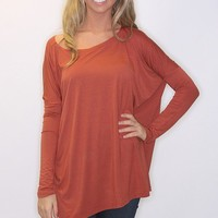 piko long sleeve top - rust - Riffraff