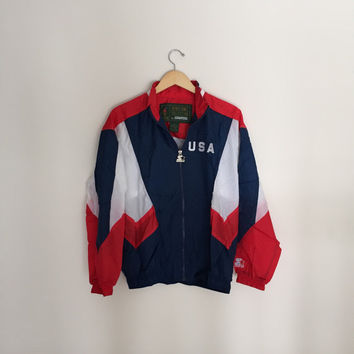 Vintage USA Olympic Windbreaker Jacket Size MEDIUM