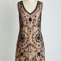 Vintage Inspired Mid-length Sleeveless Shift Bead It Dress in Chamoisee