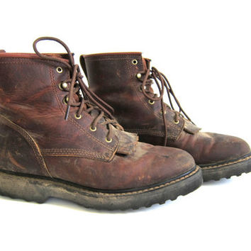 vintage brown leather work boots. Lace up from Dirty Birdies