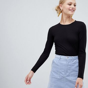 Monki Long Sleeve Soft Touch Jersey Top at asos.com