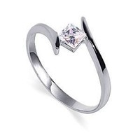 Sterling Silver Princess Cut 5mm Clear Cubic Zirconia Polish Finish 2mm Band Promise Ring Size 10