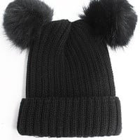 Double Fur Pom Pom Knit Beanie Hat - Black
