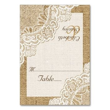 White corner lace on burlap wedding place card table card
