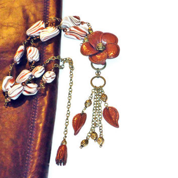Polymer Clay Necklace with brass chain and Amber Orange-brown  flower.