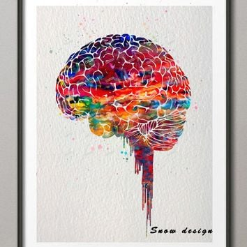 Original watercolor Brain poster print canvas painting Anatomy Medical wall art Picture Living room Home Decoration Giclee print