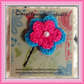 Hand Crochet Flower Bobby Pin Hair Accessory Bright Turquoise Blue & Pink