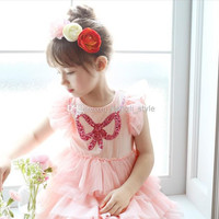 Girls Children Summer Fly Sleeve Lace Princess Dress Girls Cotton Bow Sequins Lace TUTU Dress 5 pcs/lot New Kids Fashion Lace Cake Dresses