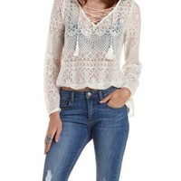Ivory Lace-Up Bell Sleeve Lace Top by Charlotte Russe