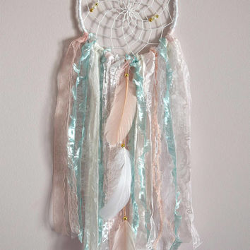 Boho Lace Dream Catcher, Mint Blush Dreamcatcher, Shabby Chic Nursery Wall Decor, Wall Hanging Bedroom Wall Decor, Boho Pink Nursery Decor