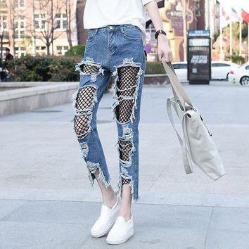 ac ICIK83Q Plus Size Pants Summer Cropped Pants Strong Character Ripped Holes Lace Jeans [45271056409]