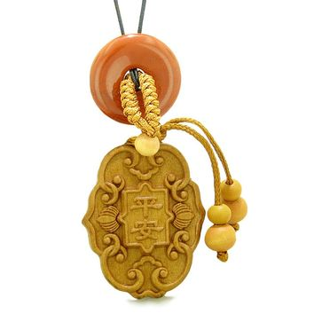 Feng Shui Lucky Symbols Car Charm or Home Decor Red Jasper Donut Protection Powers Magic Amulet