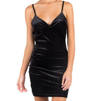 Solid Black Velvet Dress - Small