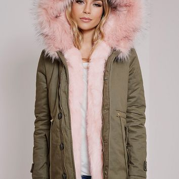 Jen Pink Fur Lined Prremium Parka Coat - Coats & Jackets - PrettylittleThing | PrettyLittleThing.com