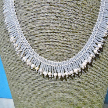 White Howlite Necklace With Fringes, Howlite beads, gift for her, gemstone necklace, beaded necklace, christmas gift, seed bead necklace