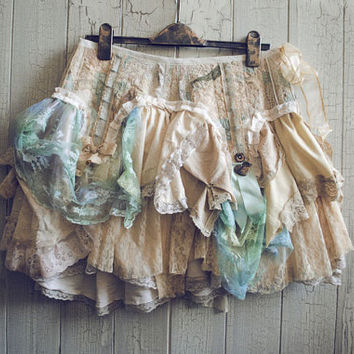 PIXIE Skirt in in Cream, Tea Stain, Baby Blue and Mint Ready to Ship OOAK