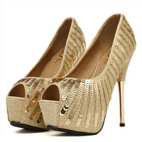 Sequin High Heel Pumps Peep Toe Stiletto